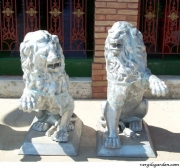 Lion Statue Pair Each Paw Up